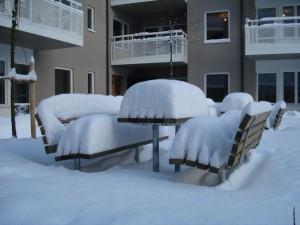 Bygge: Snö på innergården